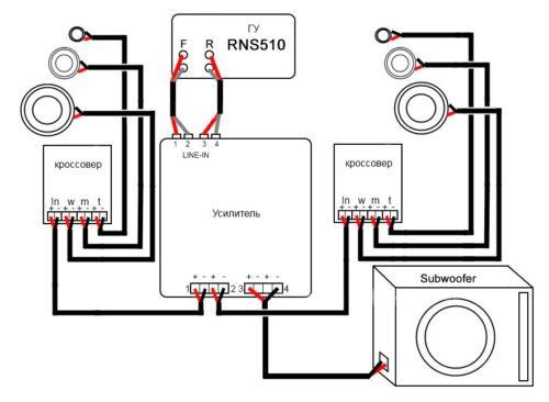 подключение колонок к усилителю в машине схема