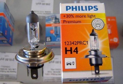 автолампы Н4 с увеличенным световым потоком Philips
